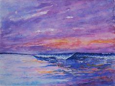 Sunset - aquarel Watercolor Wave, Sunset, Painting, Etsy, Beautiful, Branding, Brand Management, Painting Art, Paintings