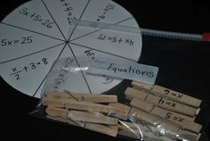 Solving equations clothespin activity - good for stations