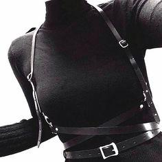 Cheap Fashion sexy Handmade leather Harness Punk Gothic Body Bondage Ca . Dark Fashion, Cheap Fashion, Gothic Fashion, Urban Fashion, Womens Fashion, Diy Outfits, Fashion Outfits, Fashion Clothes, Style Fashion