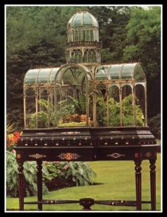 So intrigued by this terrarium. 19th Century Wardian case reproducing the 1851 Crystal Palace Exhibition in London.