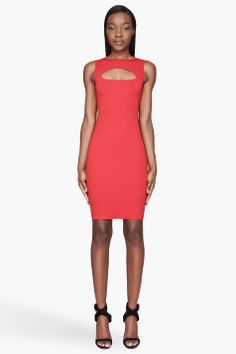 DSQUARED2 Red cut-out fitted Scuba dress