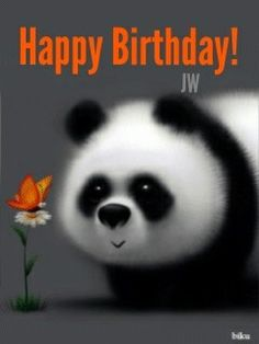 Cute Panda with a Butterfly Happy Birthday Quotes, Happy Birthday Images, Happy Birthday Greetings, Birthday Pictures, Birthday Wishes, Image Panda, Panda Wallpapers, Panda Art, Panda Love