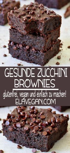 Gesunde Zucchini Brownies Vegan zucchini brownies that are soft, juicy and very chocolatey! Healthy Zucchini Brownies, Zucchini Desserts, Vegan Zucchini, Healthy Cake, Zucchini Cake, Brownie Sans Gluten, Vegan Brownie, Brownie Recipes, Cake Recipes
