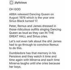 ABBA, Marauders, Dumbledore and McGonagall Harry Potter Marauders, Harry Potter Jokes, Harry Potter Fandom, Harry Potter World, The Marauders, Sassy Harry Potter, Fandoms, No Muggles, Def Not