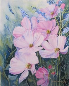 Watercolor Painting Art Flower Cosmos Summer by BarbaraRosenzweig, $48.00