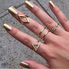 18K gold Plating Rhinestone Triangle rhombus Arrow Finger Rings Set, 5pcs/set Fashion Jewelry