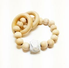 Natural wooden teether ring with silicone bead. Baby Accessories, Bead, Jewels, Ring, Natural, Handmade, Fashion, Moda, Beads