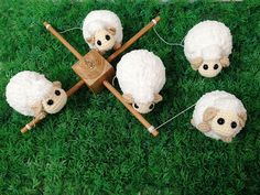 ♥ WELCOME TO IVORY TREE HOUSE ♥  All items are made from my heart with love for smiles of all children and family :)  Detail :  - Sheep : They are made of hand crocheted acrylic yarn and stuffed with polyfill.  Size : 4 x 3 inches   - Overall drop from top mobile hanger to the bottom of sheep : 16 inches  - Mobile hanger made from teak wood matt cleared coated size : 12 x 12 inches  Include 2 hooks from top and bottom of cube.  Cube size : 2 x 2 x 1.5 inches  ♥ Follow me on instagram…