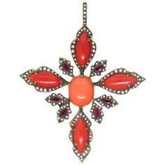 Cathy Waterman Coral Ruby Diamond Gold Pendant