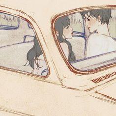 결국엔(At last) by 살구 on Grafolio Couple Illustration, Character Illustration, Illustration Art, Couple Drawings, Art Drawings, Korean Art, Fanart, Couple Art, Anime Art Girl