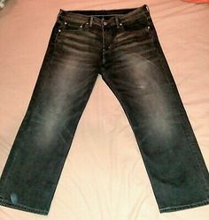 Levis 569 Faded Black Mute Hurricane Jeans Size 34 In 2020 Faded Black Jeans American Denim Lined Jeans