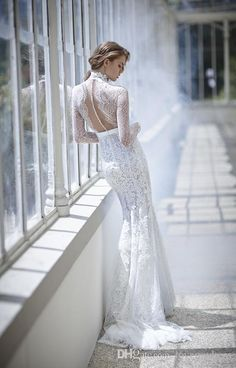 Mermaid Wedding Dresses Long Sleeves New Appliques Beading Sweep Train Elegant Lace Bridal Dress With Sheer High Neck Dress Wedding Wedding Dresses With Color Wedding Shops From Lovemydress, $134.18  Dhgate.Com