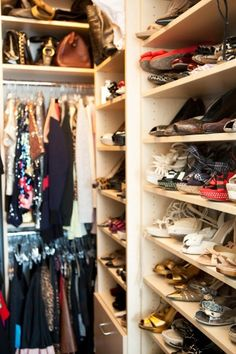 "DKNY PR Girl on organizing her wardrobe: ""I have a closet editing system that works as follows: If it is a special item, it stays, if it's a basic and I haven't worn it in a year, it's gone...."" #closet #dressing_room #organization"