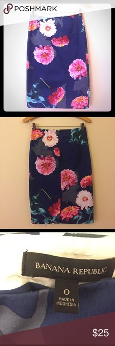 NWOT Banana Republic navy floral pencil skirt NWOT Banana Republic navy floral pencil skirt. Never been worn! Below the knee. High waisted. Banana Republic Skirts Pencil