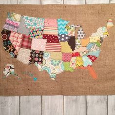 Make a Scrap Map! 2019 fabric scraps make something with it i made a scrap map crafts how to repurposing upcycling reupholster wall decor The post Fabric Scraps? Make a Scrap Map! 2019 appeared first on Fabric Diy. Sewing Crafts, Sewing Projects, Craft Projects, Scrap Fabric Projects, Quilt Patterns, Sewing Patterns, Map Crafts, Crafts With Maps, Kids Crafts