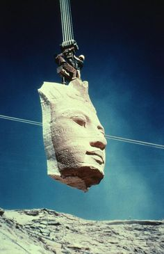 Relocation of the Abu Simbel temples because of the Aswan Dam was undertaken from 1964 to 1966 and funded by donations from 52 countries
