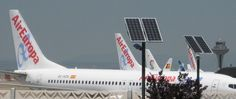 Emerix solar streetlights at Barajas Airport, Madrid Spain