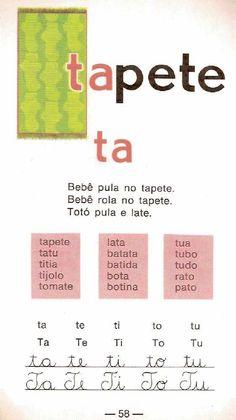 Cartilha de alfabetização Infantil Caminho Suave School Days, Nostalgia, Writing, Education, Reading, Reading Activities, Index Cards, Word Reading, Teaching