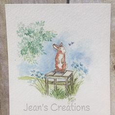 Art Impressions Rubber Stamps: Ai Wonderful Watercolor...handmade card. Flowers, foliage, wood chair, bench, trees, bunny rabbit