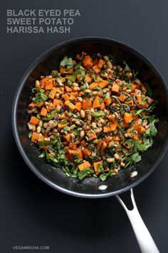 Hash in the new year with this plentiful Black eyed pea and Sweet Potato Hash with harissa. Vegan Gluten-free Soy-free Recipe