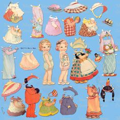 Muñecas de Betty Bell Rea, en formato lámina, me encanta verlas así...