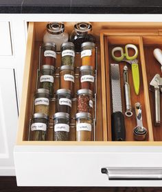 "Keep your most frequently used spices at hand in a drawer with this ""stadium"" organizer. The best part? You can easily see the labels."