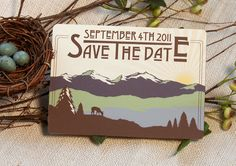 Rocky Mountains Save The Date Postcard 5x7 Craftsman: Get Started Deposit or DIY Payment