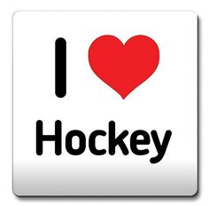 I Love Hockey Coaster Heart Gift Idea Christmas Funny Coffee