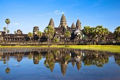Angkor Wat seen across the lake, Cambodia