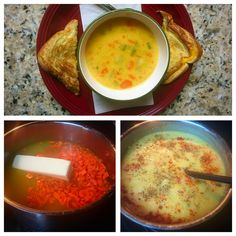 Dill Pickle Soup that I keep seeing pop up on FB.   Whoooooo Lordy!  It actually is VERY DIFFERENT than I imagined  and BETTER!!  It's got a lot more heat than I predicted and then the little bites of pickle are like refreshment packs that burst through the heat and give you a flavor zing!  It's PERFECT paired with a grilled cheese sandwich. This recipe is going in my favorites board!    https://m.facebook.com/story.php?story_fbid=10157618107170300&id=350203480299&_rdr