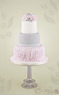 Pink Ruffle Wedding Cake - by littlecherry @ CakesDecor.com - cake decorating website