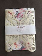 12 laser cut Ivory Metallic wedding invitation card