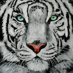 white tiger portrait, acrylic on canvas