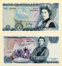 1973-1980 Great Britain Five Pounds with Queen Elizabeth Signed JB Page in Black But No L on the Back Prefix D27
