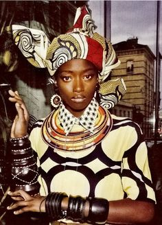 Rustic style African head wrap.