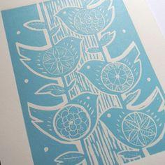 Five birds lino print