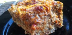 #paleo Savory Breakfast Casserole: 12 eggs, whisked; 1 lb chorizo, cooked and broken into pieces; 1 sweet potato, shredded; ½ yellow onion, diced; 2 tablespoons Siracha hot sauce; 1 teaspoon garlic powder; 1 teaspoon onion powder; 1 teaspoon salt; 1 teaspoon pepper