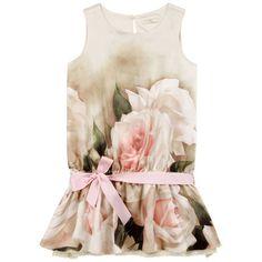 Monnalisa Flower-printed silk dress