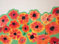 Use tissue, water soluble oil pastels- quick project for Veteran's Day?  (Fifth Grade Poppy Field from Tiger Apple Twist Elementary Art Blog)