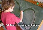 Visual Motor Integration activity that involves tracing a figure 8 repetitively on a chalk board