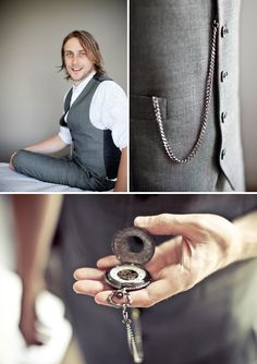 A stylish vintage pocket watch as an accessory for the groom. Photo: Lizelle Lotter