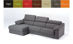 Sofá con chaise longue a la izquierda, tapizado en tela con cabezales reclinables. Disponibilidad de colores.