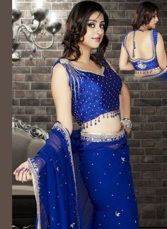 Royal blue stone enriched georgette saree