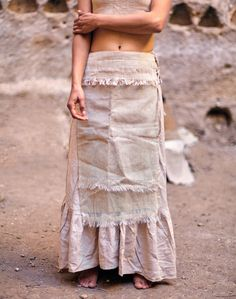 SALE Panel Skirt Cream Cotton by PrimitiveTribalCraft on Etsy