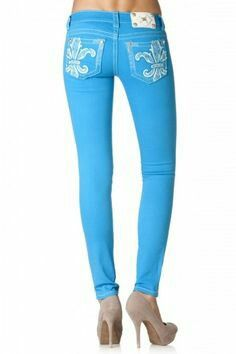 Pretty turquoise bling jeans