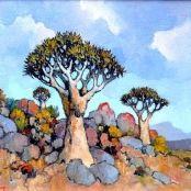 Sold | Theys, Conrad | 3 Quiver trees, Namaqualand Brighton College, South Africa Art, National Art Museum, South African Artists, Art Society, Quiver, Art Studies, Art School, Dibujo