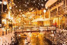 【行ってみたい場所】                          金色に輝く!雪の銀山温泉が幻想的すぎる・・・ | TABI LABO