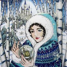 Snow Queen from Mysterious Library…#mysteriouslibrary #snowqueen #adultcolouring #colouringbook