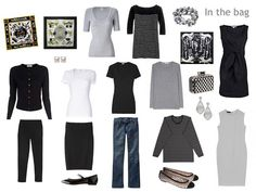 A Simple 12-Pack for Paris in Black, White and Grey, with flat shoes, Hermes scarves, and pearl jewelry