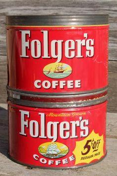 vintage metal lid coffee can lot, old litho print Folger's coffee advertising Vintage Tins, Vintage Coffee, Vintage Metal, Folgers Coffee, Coffee Tin, Coffee Advertising, Shabby, Litho Print, Trays